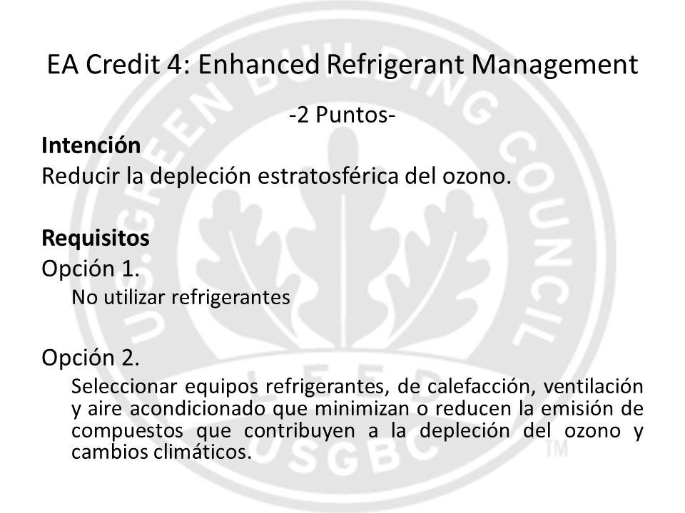 EA Credit 4: Enhanced Refrigerant Management -2 Puntos- Intención Reducir la depleción estratosférica del ozono. Requisitos Opción 1. No utilizar refr