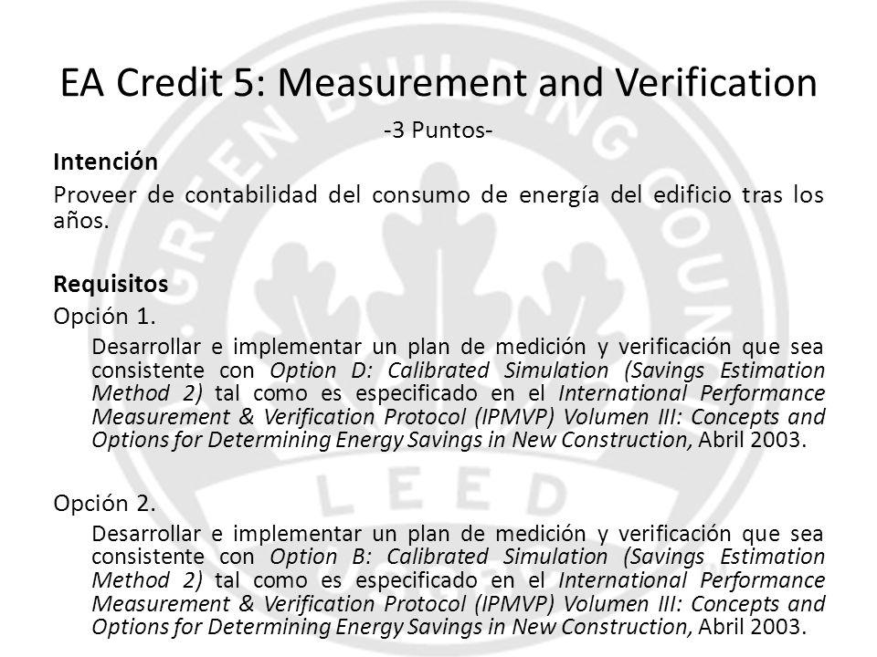 EA Credit 5: Measurement and Verification -3 Puntos- Intención Proveer de contabilidad del consumo de energía del edificio tras los años. Requisitos O