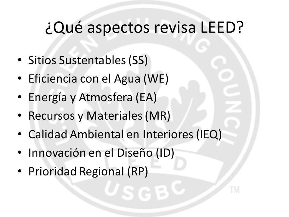 ¿Qué aspectos revisa LEED? Sitios Sustentables (SS) Eficiencia con el Agua (WE) Energía y Atmosfera (EA) Recursos y Materiales (MR) Calidad Ambiental