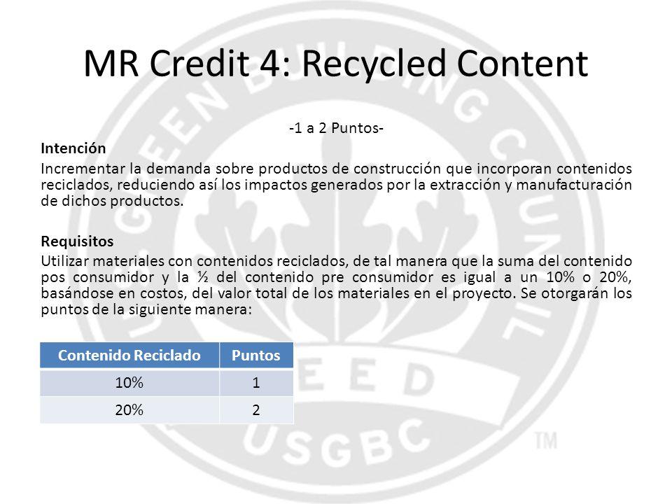 MR Credit 4: Recycled Content -1 a 2 Puntos- Intención Incrementar la demanda sobre productos de construcción que incorporan contenidos reciclados, re