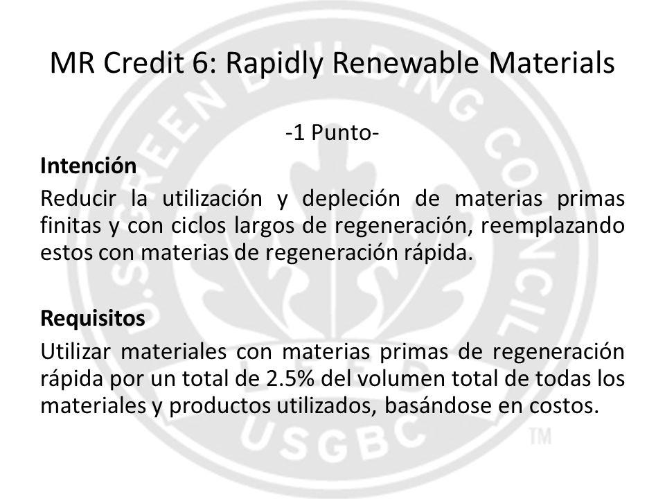 MR Credit 6: Rapidly Renewable Materials -1 Punto- Intención Reducir la utilización y depleción de materias primas finitas y con ciclos largos de rege