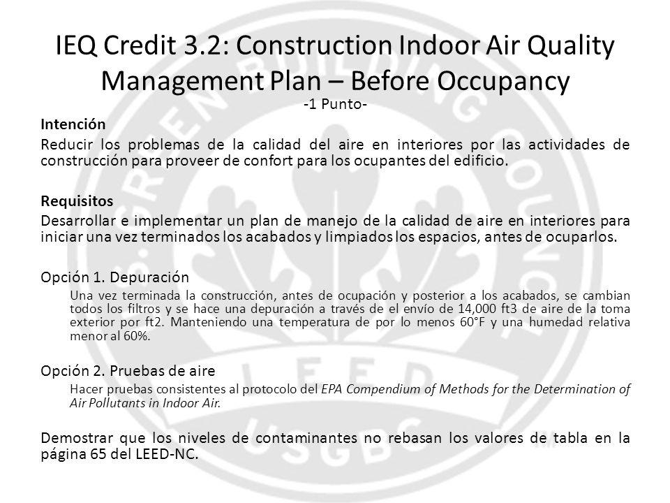 IEQ Credit 3.2: Construction Indoor Air Quality Management Plan – Before Occupancy -1 Punto- Intención Reducir los problemas de la calidad del aire en