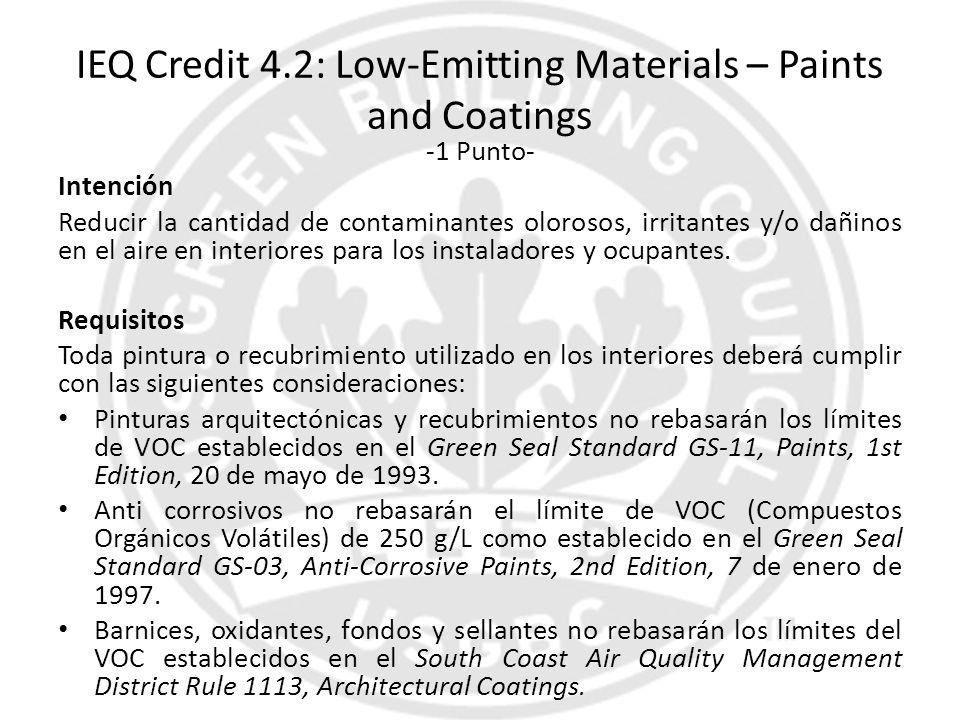 IEQ Credit 4.2: Low-Emitting Materials – Paints and Coatings -1 Punto- Intención Reducir la cantidad de contaminantes olorosos, irritantes y/o dañinos