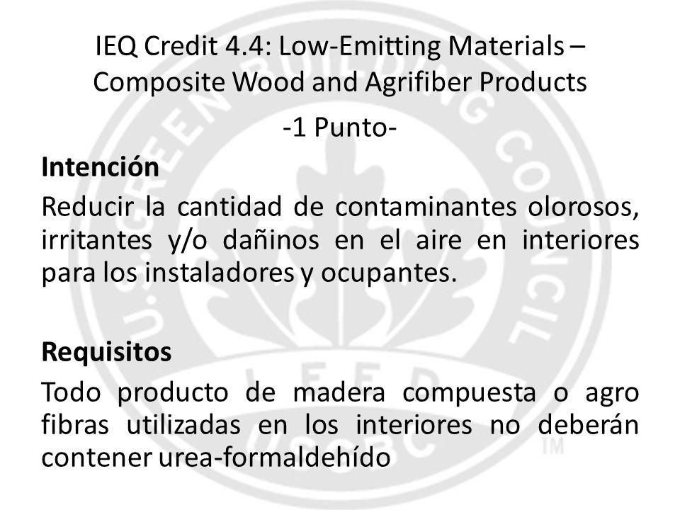 IEQ Credit 4.4: Low-Emitting Materials – Composite Wood and Agrifiber Products -1 Punto- Intención Reducir la cantidad de contaminantes olorosos, irri