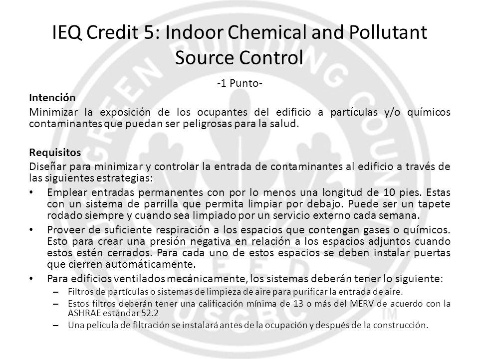 IEQ Credit 5: Indoor Chemical and Pollutant Source Control -1 Punto- Intención Minimizar la exposición de los ocupantes del edificio a partículas y/o