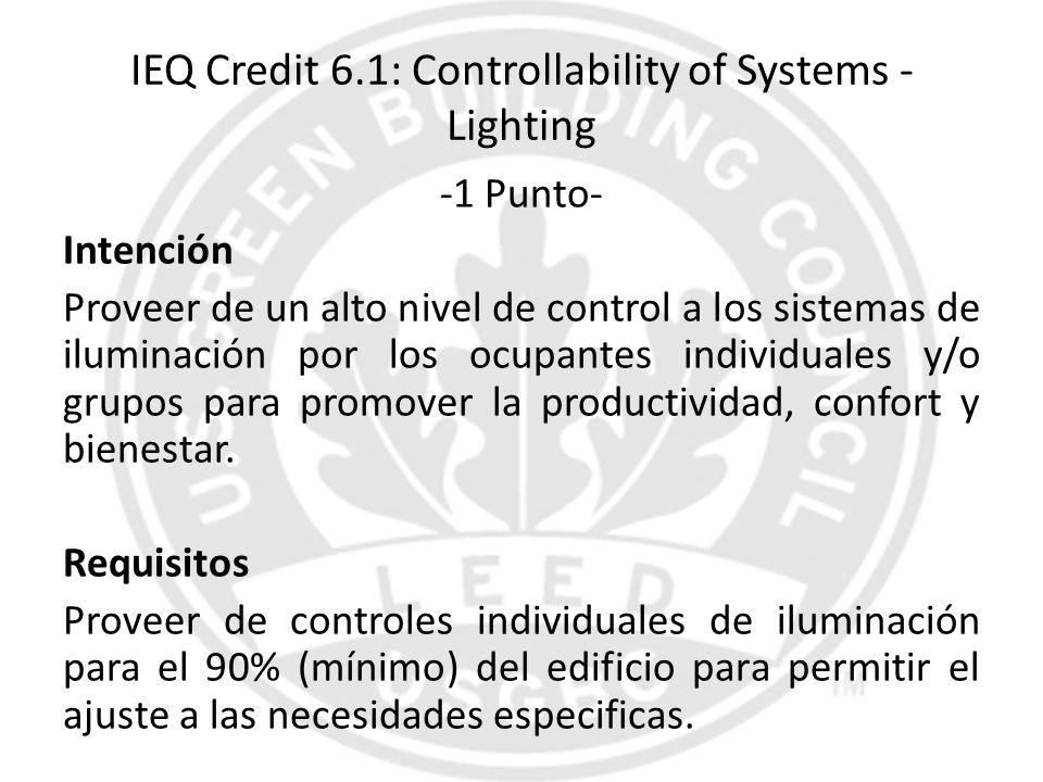 IEQ Credit 6.1: Controllability of Systems - Lighting -1 Punto- Intención Proveer de un alto nivel de control a los sistemas de iluminación por los oc