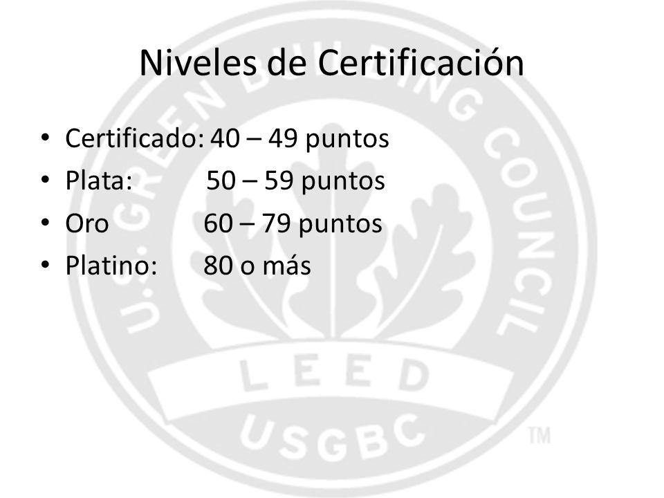 Niveles de Certificación Certificado: 40 – 49 puntos Plata: 50 – 59 puntos Oro 60 – 79 puntos Platino: 80 o más