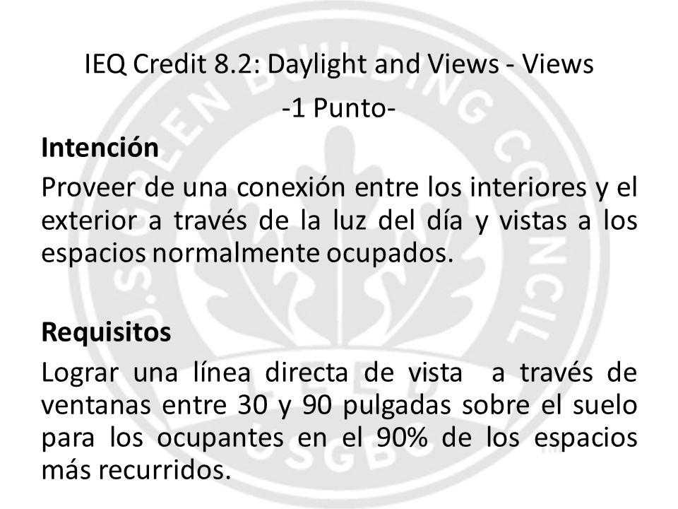 IEQ Credit 8.2: Daylight and Views - Views -1 Punto- Intención Proveer de una conexión entre los interiores y el exterior a través de la luz del día y
