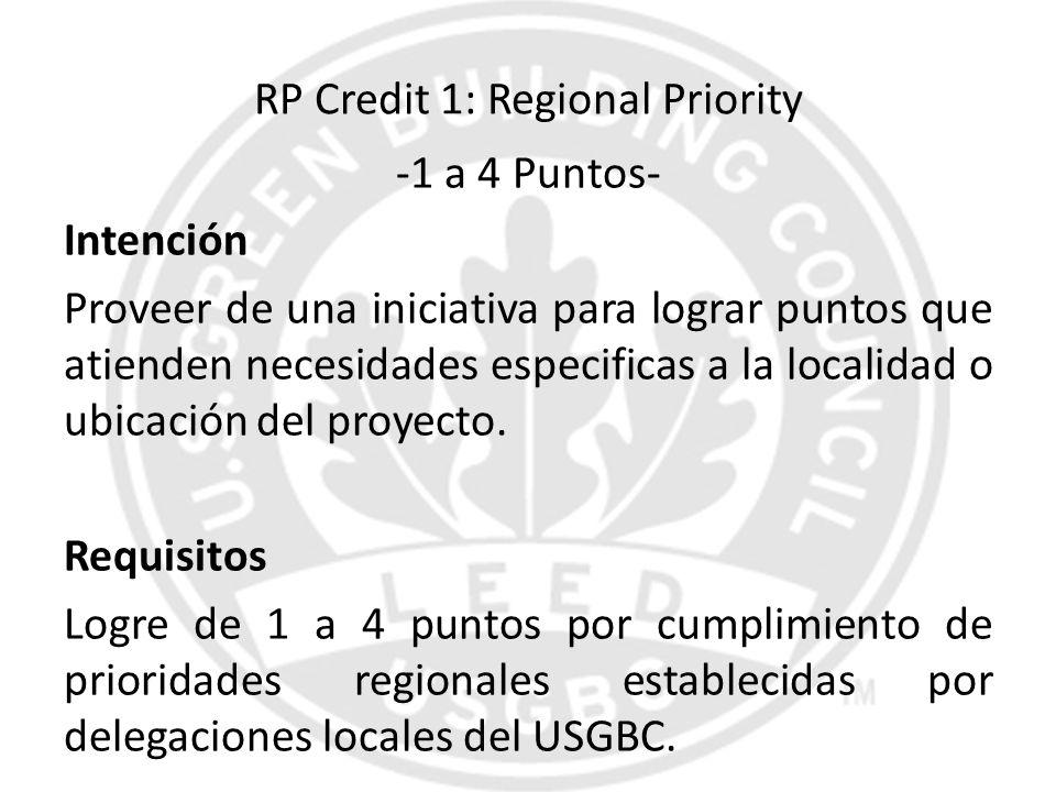 RP Credit 1: Regional Priority -1 a 4 Puntos- Intención Proveer de una iniciativa para lograr puntos que atienden necesidades especificas a la localid