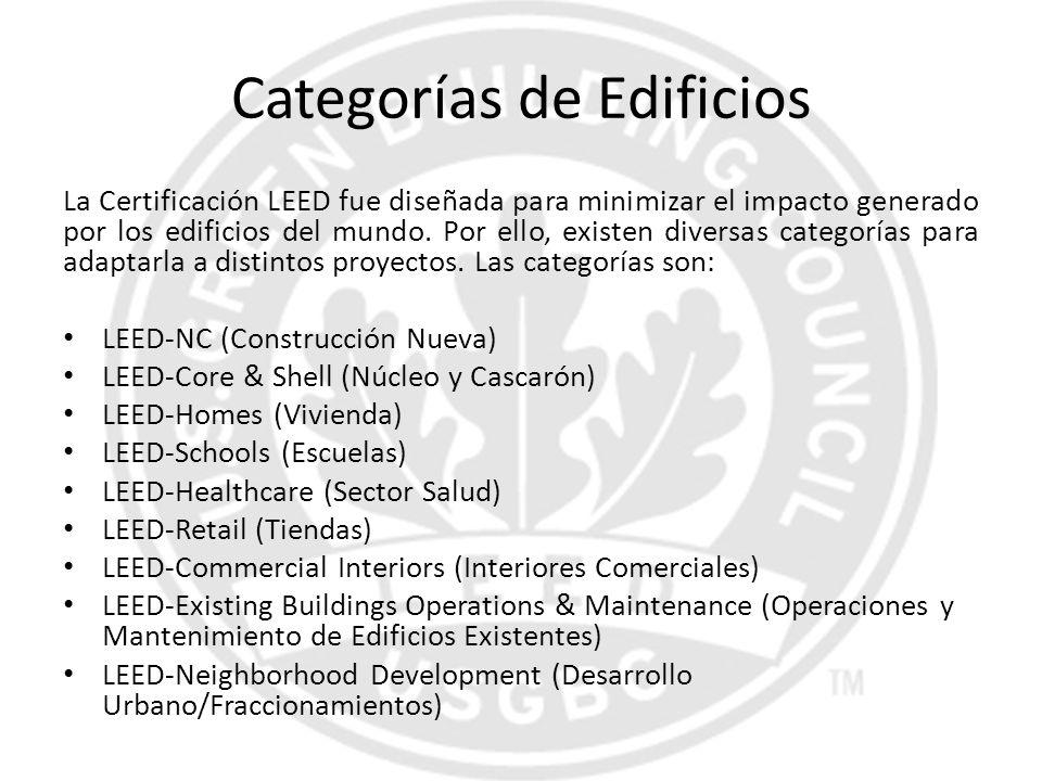 Categorías de Edificios La Certificación LEED fue diseñada para minimizar el impacto generado por los edificios del mundo. Por ello, existen diversas