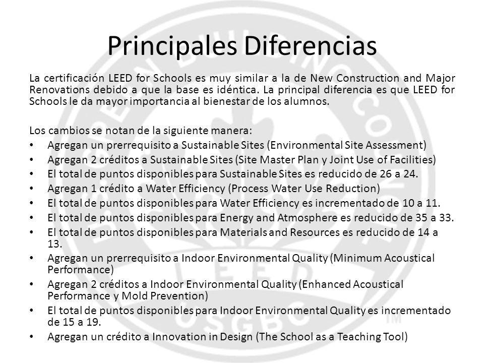 Principales Diferencias La certificación LEED for Schools es muy similar a la de New Construction and Major Renovations debido a que la base es idénti