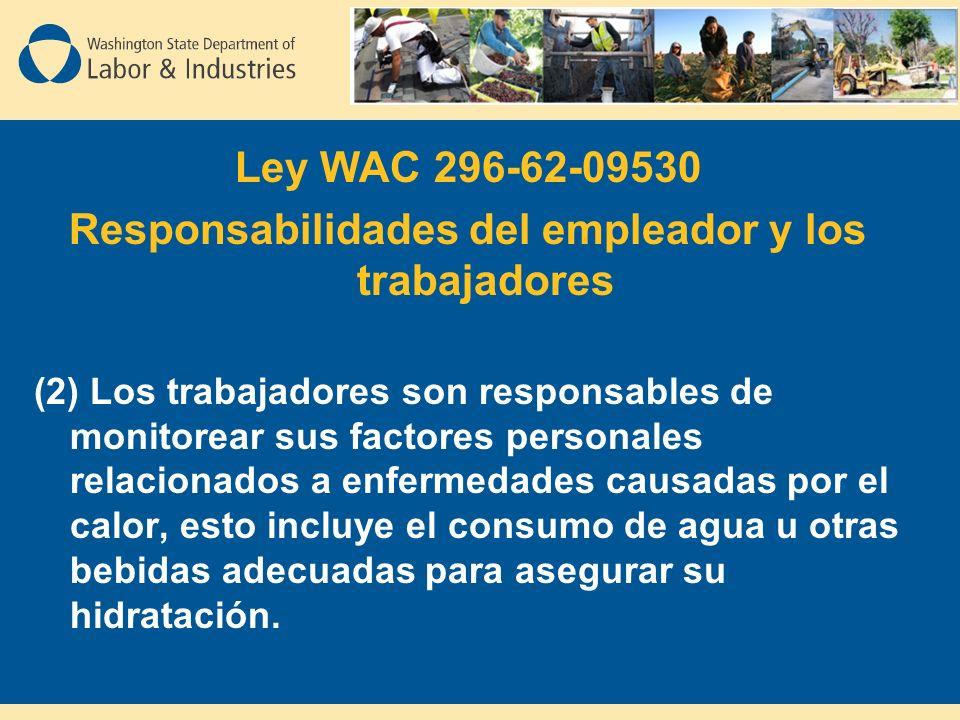 Ley WAC 296-62-09530 Responsabilidades del empleador y los trabajadores (2) Los trabajadores son responsables de monitorear sus factores personales relacionados a enfermedades causadas por el calor, esto incluye el consumo de agua u otras bebidas adecuadas para asegurar su hidratación.