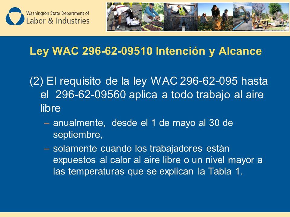 Ley WAC 296-62-09510 Intención y Alcance (2) El requisito de la ley WAC 296-62-095 hasta el 296-62-09560 aplica a todo trabajo al aire libre –anualmente, desde el 1 de mayo al 30 de septiembre, –solamente cuando los trabajadores están expuestos al calor al aire libre o un nivel mayor a las temperaturas que se explican la Tabla 1.