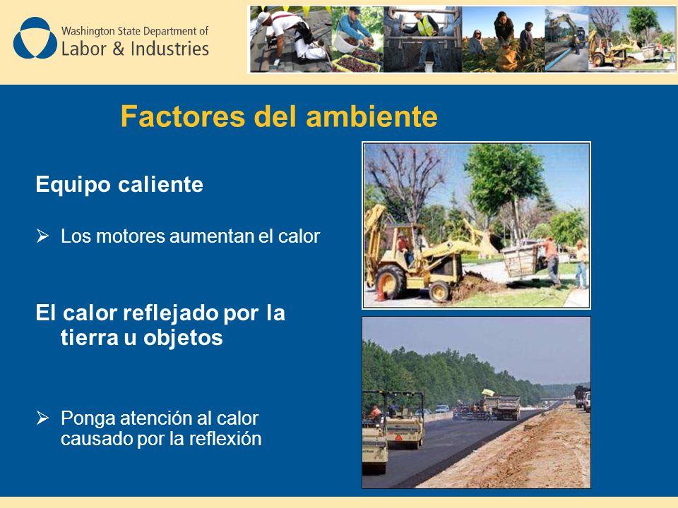 Factores del ambiente Equipo caliente Los motores aumentan el calor El calor reflejado por la tierra u objetos Ponga atención al calor causado por la reflexión