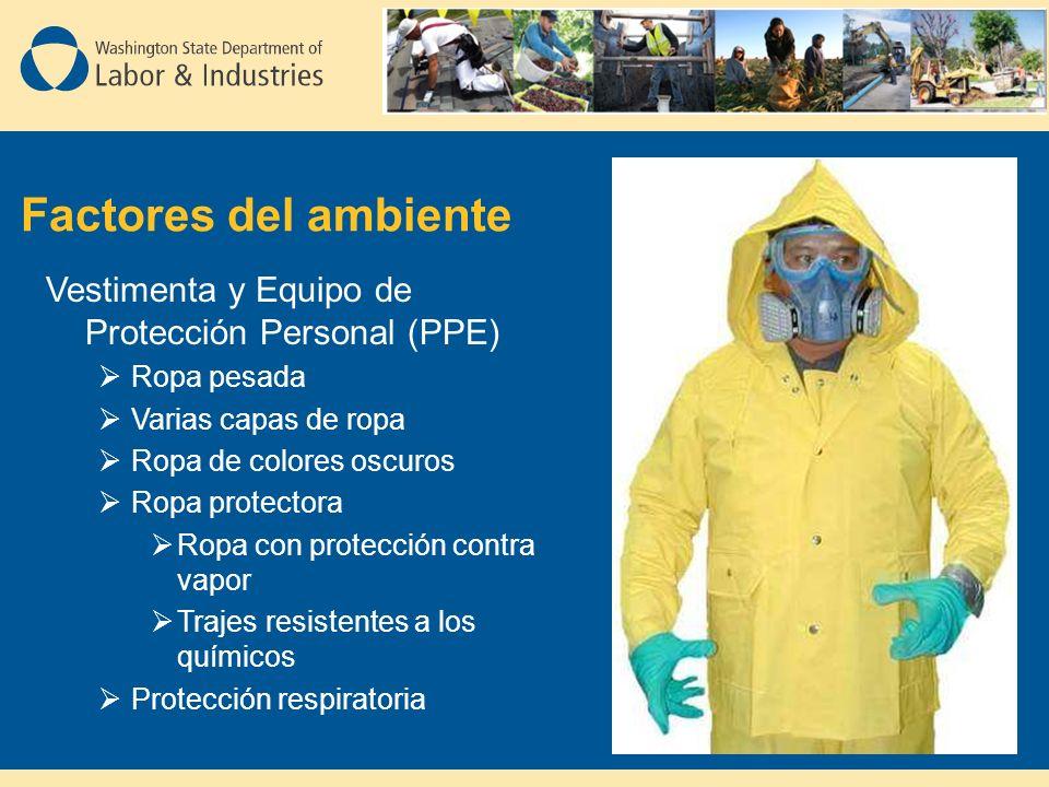 Factores del ambiente Vestimenta y Equipo de Protección Personal (PPE) Ropa pesada Varias capas de ropa Ropa de colores oscuros Ropa protectora Ropa con protección contra vapor Trajes resistentes a los químicos Protección respiratoria