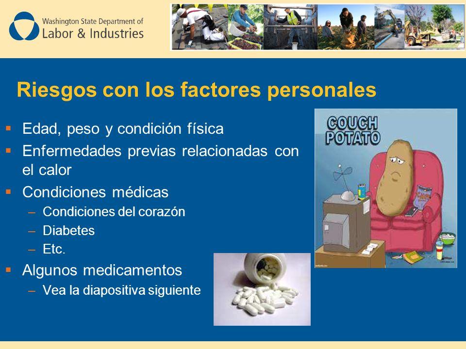 Riesgos con los factores personales Edad, peso y condición física Enfermedades previas relacionadas con el calor Condiciones médicas –Condiciones del corazón –Diabetes –Etc.