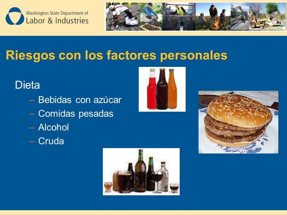 Riesgos con los factores personales Dieta –Bebidas con azúcar –Comidas pesadas –Alcohol –Cruda