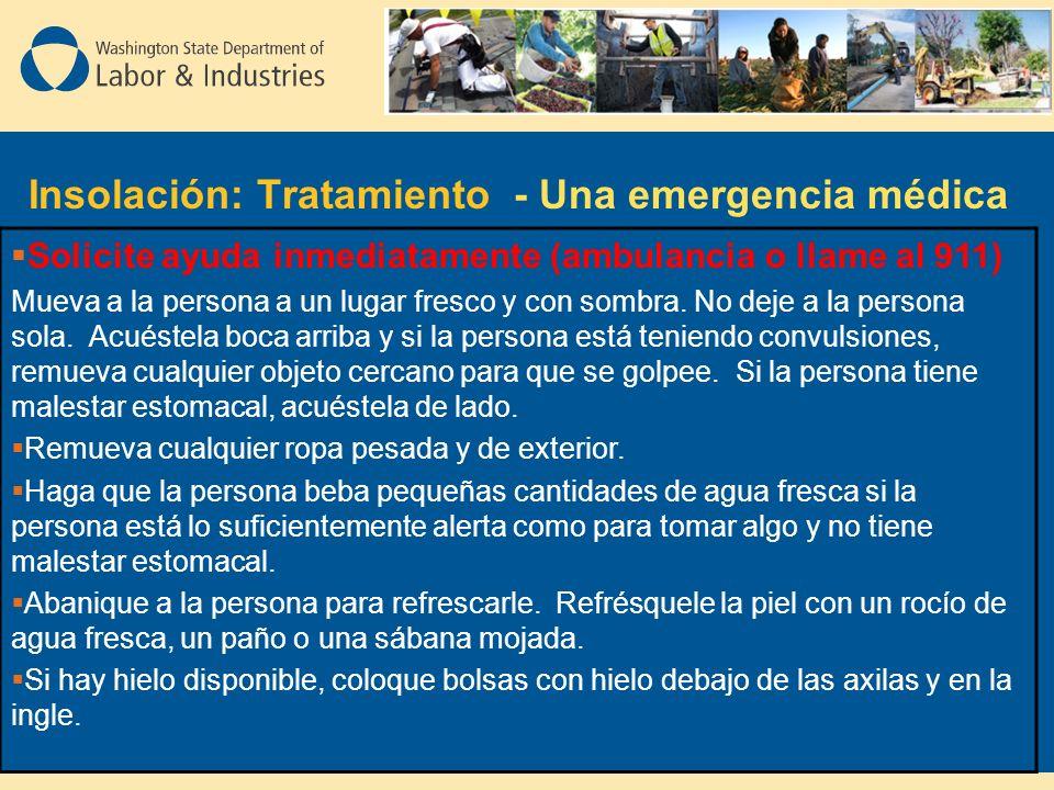 Insolación: Tratamiento - Una emergencia médica Solicite ayuda inmediatamente (ambulancia o llame al 911) Mueva a la persona a un lugar fresco y con sombra.
