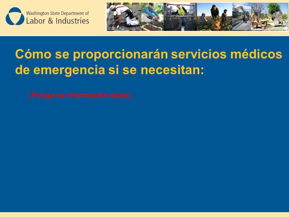 Cómo se proporcionarán servicios médicos de emergencia si se necesitan: (Ponga su información abajo)