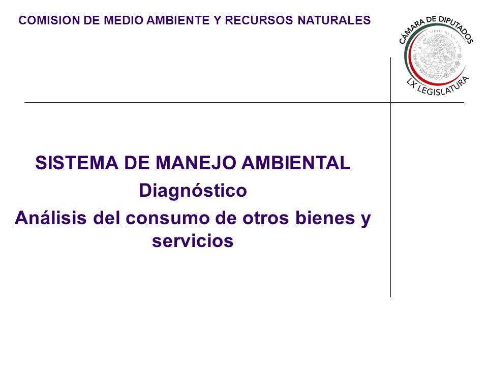 COMISION DE MEDIO AMBIENTE Y RECURSOS NATURALES SISTEMA DE MANEJO AMBIENTAL Diagnóstico Análisis del consumo de otros bienes y servicios
