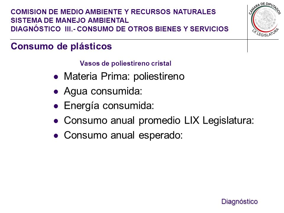 COMISION DE MEDIO AMBIENTE Y RECURSOS NATURALES SISTEMA DE MANEJO AMBIENTAL DIAGNÓSTICO III.- CONSUMO DE OTROS BIENES Y SERVICIOS Vasos de poliestireno cristal Materia Prima: poliestireno Agua consumida: Energía consumida: Consumo anual promedio LIX Legislatura: Consumo anual esperado: Diagnóstico Consumo de plásticos