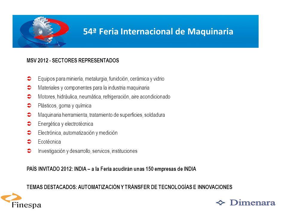 5 MSV 2012 - SECTORES REPRESENTADOS Equipos para miniería, metalurgia, funidción, cerámica y vidrio Materiales y componentes para la industria maquina
