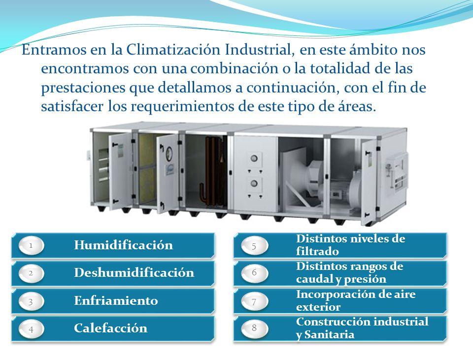 Entramos en la Climatización Industrial, en este ámbito nos encontramos con una combinación o la totalidad de las prestaciones que detallamos a continuación, con el fin de satisfacer los requerimientos de este tipo de áreas.