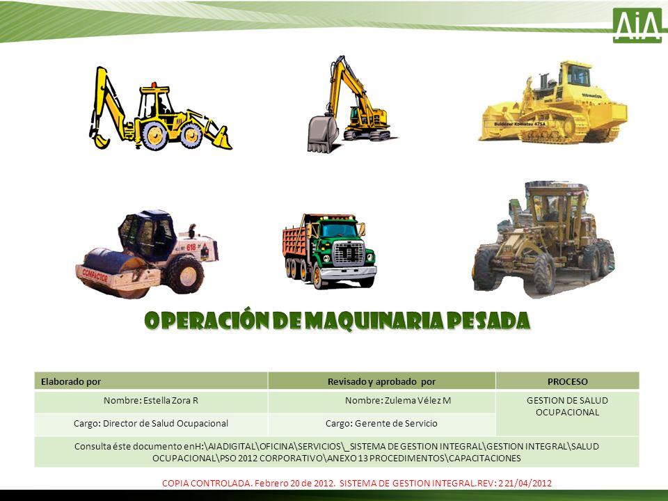 RIESGOS PRESENTES AL OPERAR MAQUINARIA PESADA Quemaduras Al realizar la inspección de seguridad utilice siempre los guantes de seguridad.