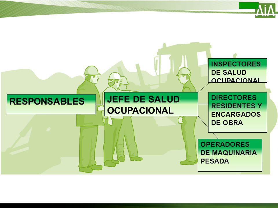 RESPONSABLES JEFE DE SALUD OCUPACIONAL DIRECTORES RESIDENTES Y ENCARGADOS DE OBRA INSPECTORES DE SALUD OCUPACIONAL OPERADORES DE MAQUINARIA PESADA