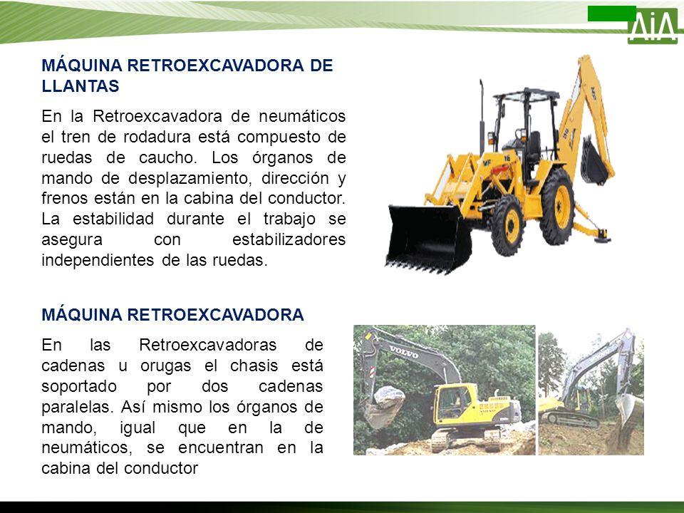 MÁQUINA RETROEXCAVADORA DE LLANTAS En la Retroexcavadora de neumáticos el tren de rodadura está compuesto de ruedas de caucho. Los órganos de mando de
