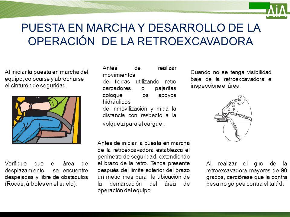 PUESTA EN MARCHA Y DESARROLLO DE LA OPERACIÓN DE LA RETROEXCAVADORA Antes de realizar movimientos de tierras utilizando retro cargadores o pajaritas c