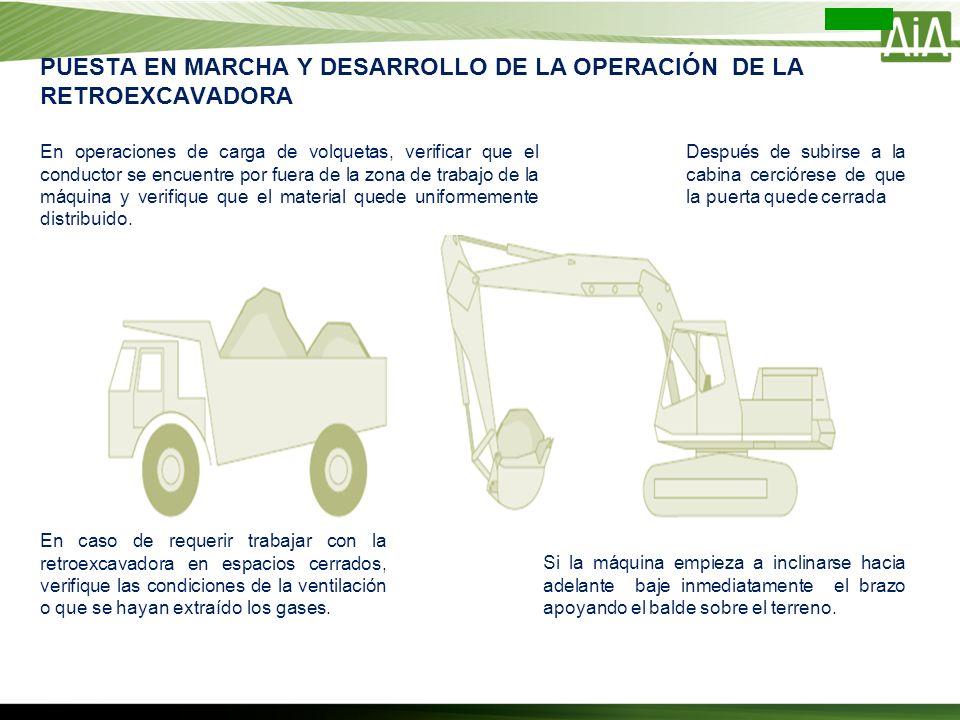 En operaciones de carga de volquetas, verificar que el conductor se encuentre por fuera de la zona de trabajo de la máquina y verifique que el materia