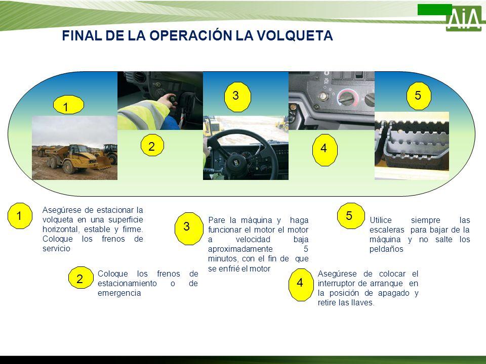 Asegúrese de estacionar la volqueta en una superficie horizontal, estable y firme. Coloque los frenos de servicio Coloque los frenos de estacionamient