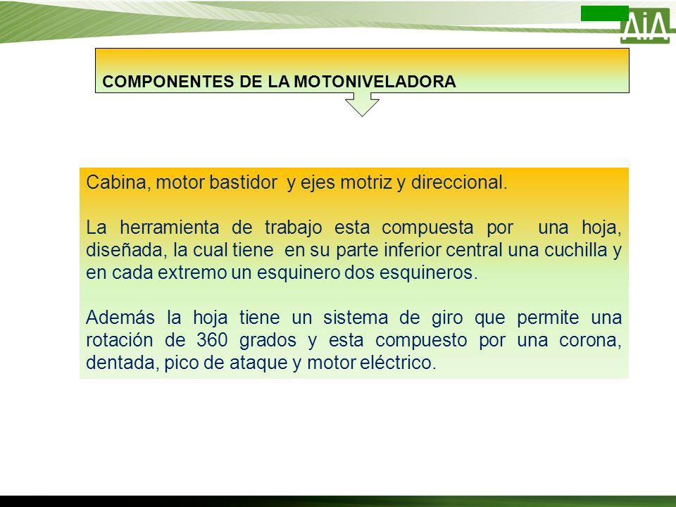 COMPONENTES DE LA MOTONIVELADORA Cabina, motor bastidor y ejes motriz y direccional. La herramienta de trabajo esta compuesta por una hoja, diseñada,