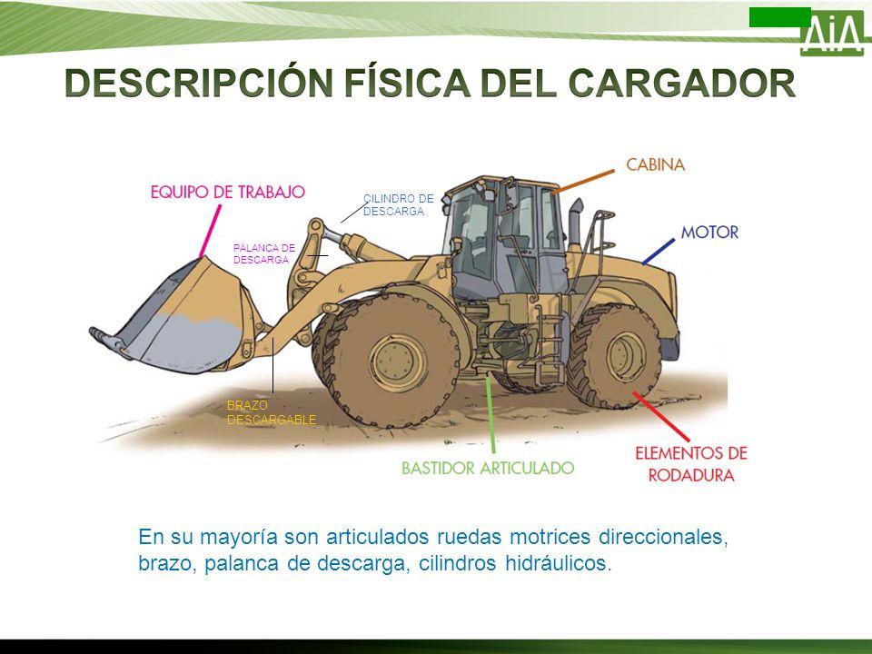 En su mayoría son articulados ruedas motrices direccionales, brazo, palanca de descarga, cilindros hidráulicos. CILINDRO DE DESCARGA BRAZO DESCARGABLE