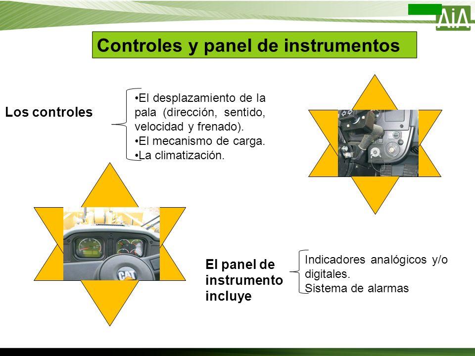 Controles y panel de instrumentos Los controles El desplazamiento de la pala (dirección, sentido, velocidad y frenado). El mecanismo de carga. La clim