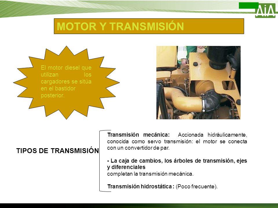 MOTOR Y TRANSMISIÓN El motor diesel que utilizan los cargadores se sitúa en el bastidor posterior. TIPOS DE TRANSMISIÓN Transmisión mecánica: Accionad
