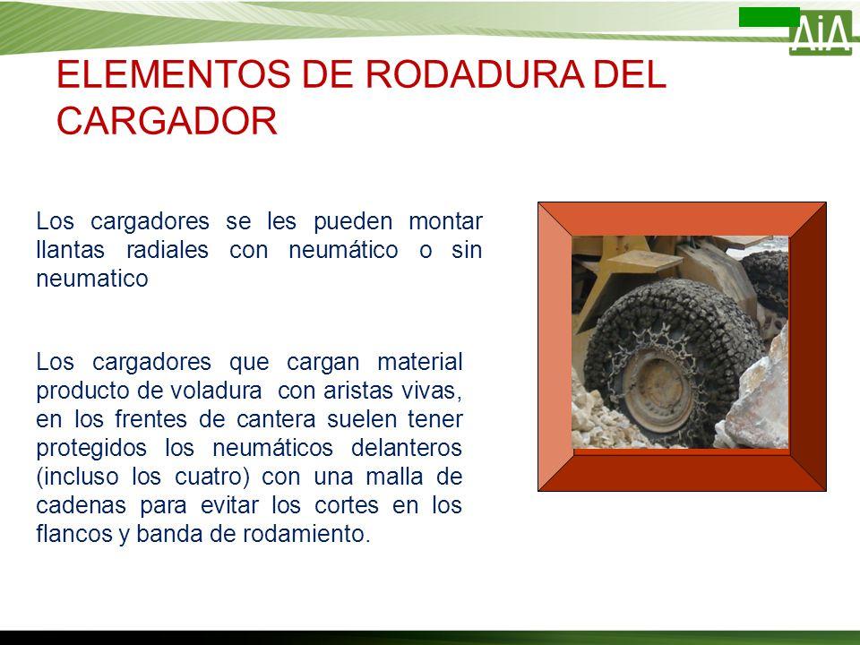 Los cargadores se les pueden montar llantas radiales con neumático o sin neumatico Los cargadores que cargan material producto de voladura con aristas
