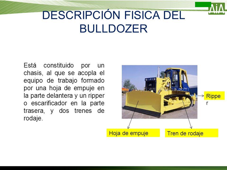 DESCRIPCIÓN FISICA DEL BULLDOZER Está constituido por un chasis, al que se acopla el equipo de trabajo formado por una hoja de empuje en la parte dela