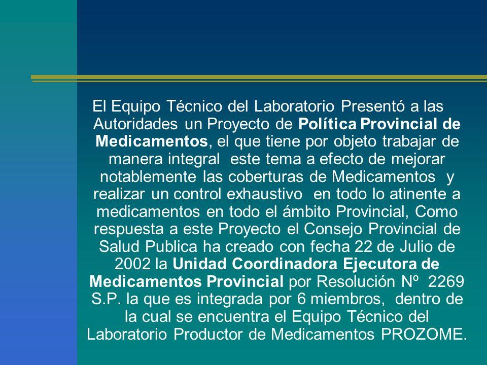 El Equipo Técnico del Laboratorio Presentó a las Autoridades un Proyecto de Política Provincial de Medicamentos, el que tiene por objeto trabajar de m