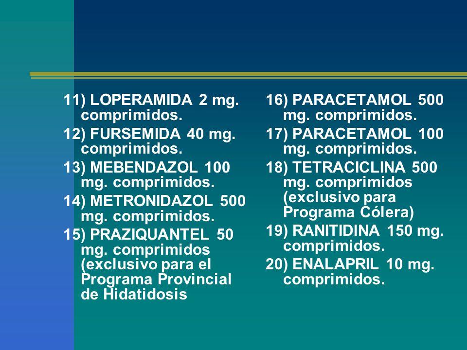 11) LOPERAMIDA 2 mg. comprimidos. 12) FURSEMIDA 40 mg. comprimidos. 13) MEBENDAZOL 100 mg. comprimidos. 14) METRONIDAZOL 500 mg. comprimidos. 15) PRAZ