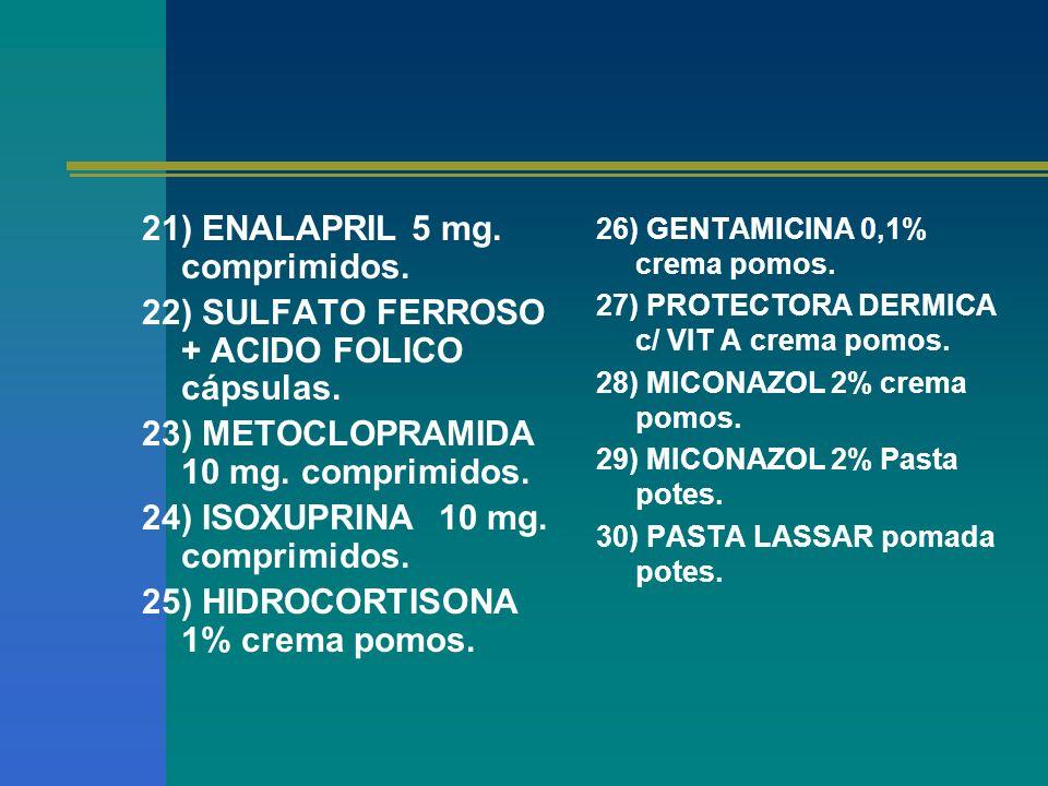 21) ENALAPRIL 5 mg. comprimidos. 22) SULFATO FERROSO + ACIDO FOLICO cápsulas. 23) METOCLOPRAMIDA 10 mg. comprimidos. 24) ISOXUPRINA 10 mg. comprimidos