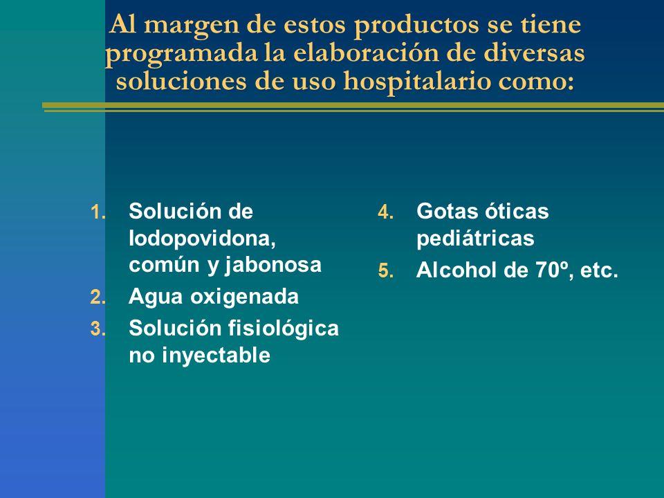 Al margen de estos productos se tiene programada la elaboración de diversas soluciones de uso hospitalario como: 1. Solución de Iodopovidona, común y