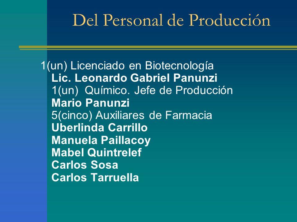 1(un) Licenciado en Biotecnología Lic. Leonardo Gabriel Panunzi 1(un) Químico. Jefe de Producción Mario Panunzi 5(cinco) Auxiliares de Farmacia Uberli