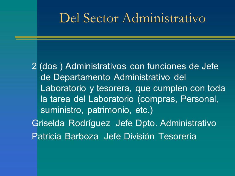 2 (dos ) Administrativos con funciones de Jefe de Departamento Administrativo del Laboratorio y tesorera, que cumplen con toda la tarea del Laboratori