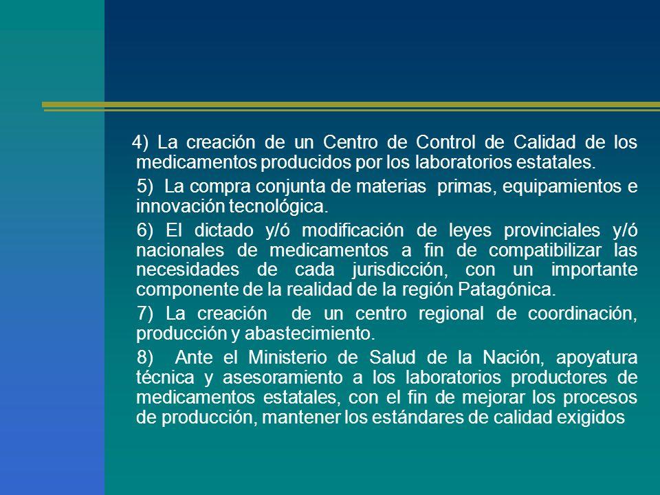 4) La creación de un Centro de Control de Calidad de los medicamentos producidos por los laboratorios estatales. 5) La compra conjunta de materias pri