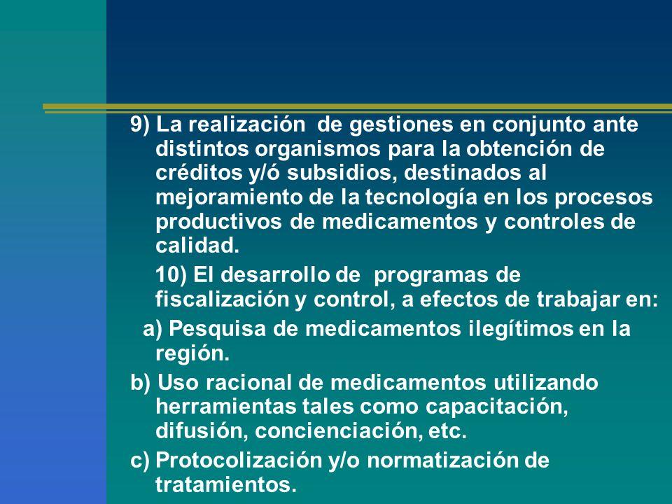 9) La realización de gestiones en conjunto ante distintos organismos para la obtención de créditos y/ó subsidios, destinados al mejoramiento de la tec