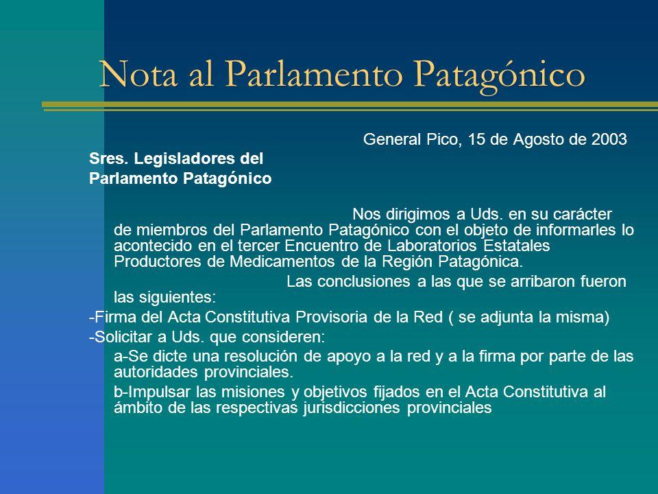 Nota al Parlamento Patagónico General Pico, 15 de Agosto de 2003 Sres. Legisladores del Parlamento Patagónico Nos dirigimos a Uds. en su carácter de m