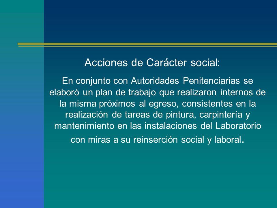 Acciones de Carácter social: En conjunto con Autoridades Penitenciarias se elaboró un plan de trabajo que realizaron internos de la misma próximos al