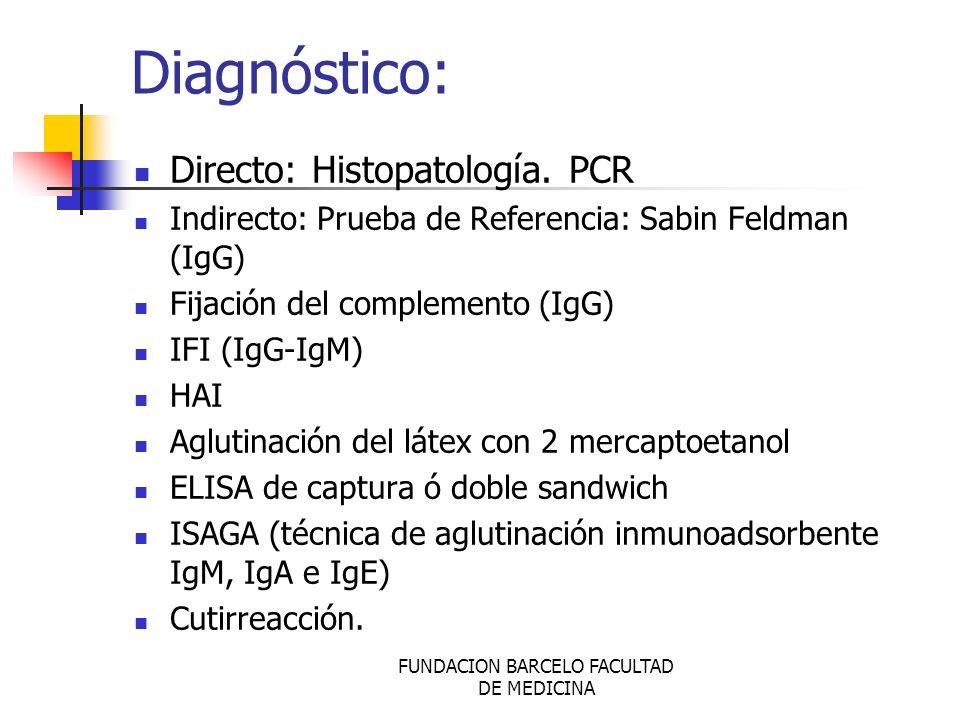 FUNDACION BARCELO FACULTAD DE MEDICINA Diagnóstico: Directo: Histopatología. PCR Indirecto: Prueba de Referencia: Sabin Feldman (IgG) Fijación del com